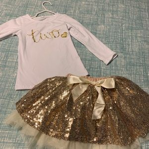 "Other - Gold sequin/glitter ""TWO"" birthday outfit"